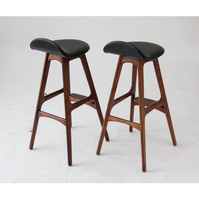 Erik Buch for O.D. Møbler Rosewood & Leather Bar Stools- A Pair - Image 4 of 6