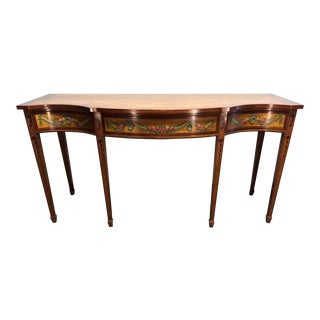 Wellington Hall Mahogany Serpentine Hand Painted Floral Sideboard