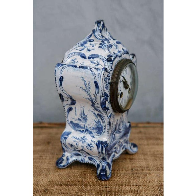 Blue and White French Shelf Clock For Sale - Image 5 of 6