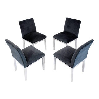 Chrome and Mohair Upholstery Dining Side Chairs - Set of 4 For Sale