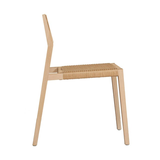 Modern Stillmade Solid White Oak Dining Chair with Paper Cord Seat For Sale - Image 3 of 4