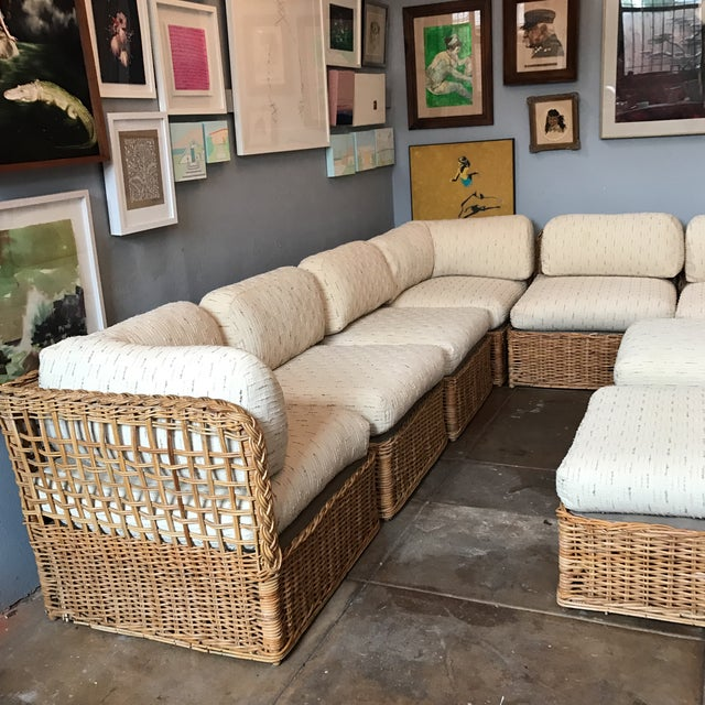 Vintage Rattan Sectional Sofa Set For Sale - Image 4 of 11