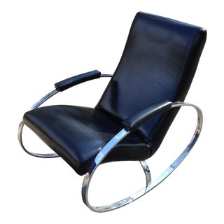 1960s Vintage Chrome and Black Leather Ellipse Rocking Chair For Sale