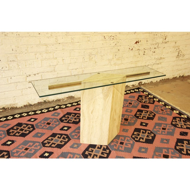 Ello Italian Travertine and Glass Console Table - Image 4 of 8