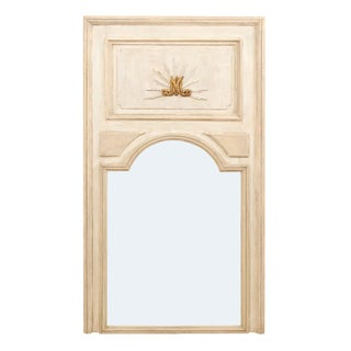 Tall French 19th Century Painted Wood Trumeau Mirror For Sale
