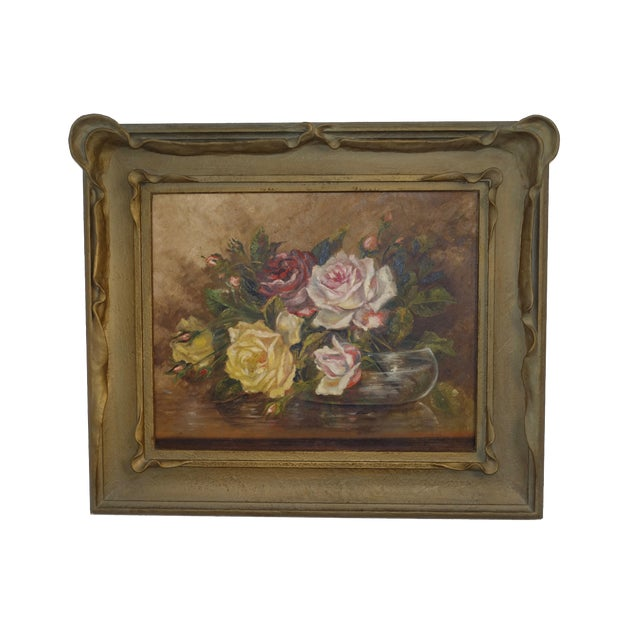 Floral Still Life Painting of Roses For Sale