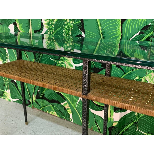 1980s Steel and Rattan Console Table For Sale - Image 5 of 11
