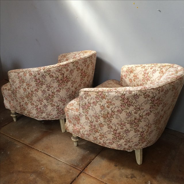 Petite Floral Club Chairs - A Pair - Image 6 of 9