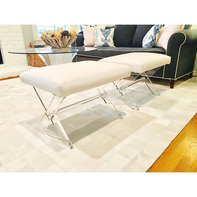 White Leather Lucite X Benches - A Pair - Image 2 of 6