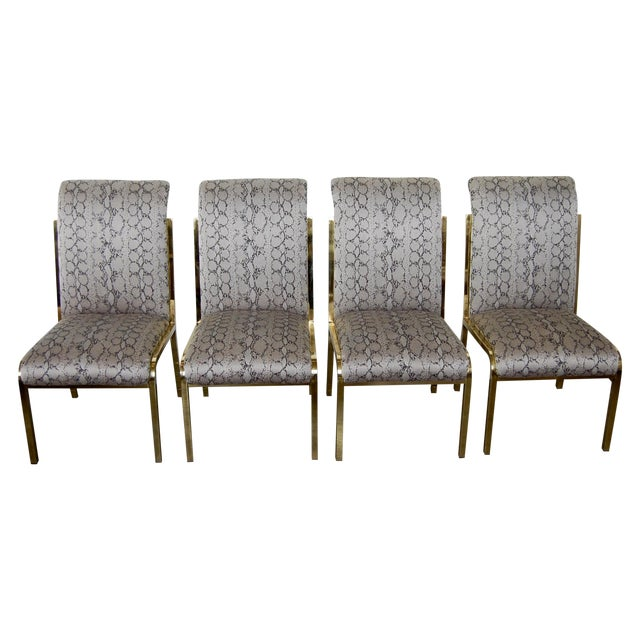 Python & Brass Vintage Dining Chairs - Set of 4 - Image 1 of 11