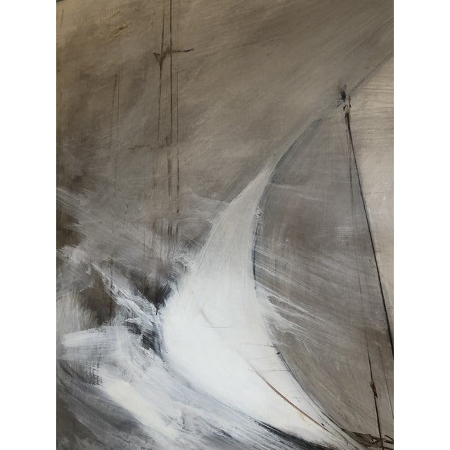 Striking Sailboat Painting in Muted Greys and White For Sale - Image 4 of 7