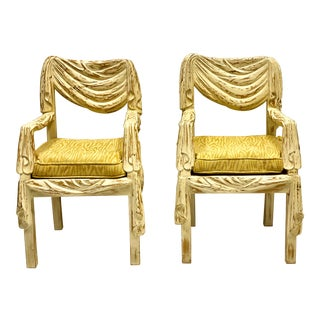 Hollywood Regency Draper Style Italian Faux Swag Carved Chairs-Pair For Sale