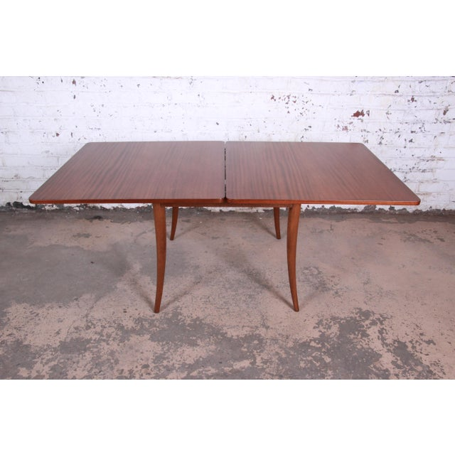 Brown Harvey Probber Mid-Century Modern Mahogany Saber Leg Flip Top Extension Dining or Game Table For Sale - Image 8 of 11