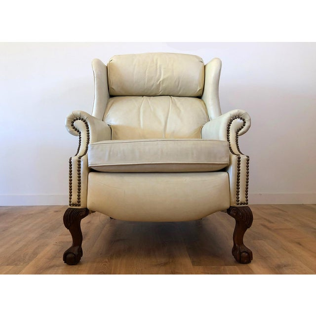 1960s Vintage Bradington Young Leather Wingback Recliner For Sale - Image 5 of 13