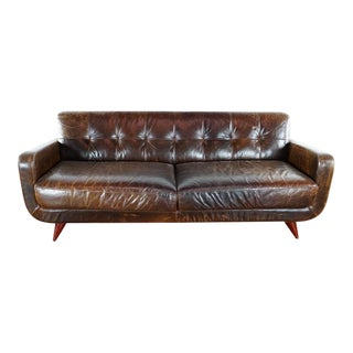 Room & Board Brown Leather Upholstered Sofa For Sale