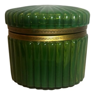 19th Century Hollywood Regency Emerald Green Glass Box For Sale