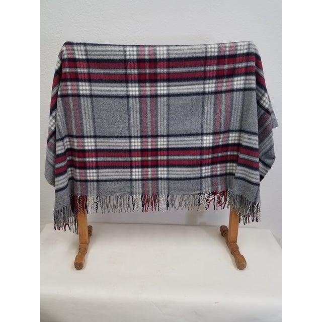 Wool Throw Red Black Gray WHite Plaid - Made in England For Sale - Image 4 of 12