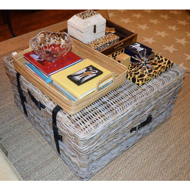 Boho Chic Woven Rattan Coffee Table Trunk For Sale - Image 9 of 13
