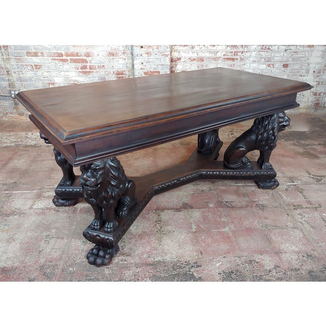 Gothic 19th Century Library Table W/ 4 Carved Lions For Sale - Image 3 of 10