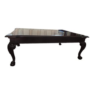 Thomasville Chippendale Mahogany Wood Ball & Claw Coffee Table With Inlay For Sale