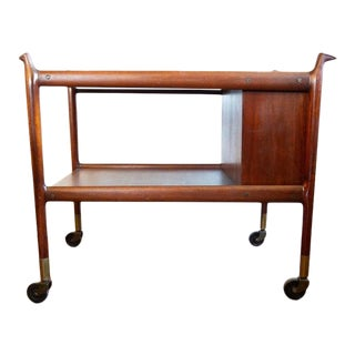1960s Danish Rosewood Bar Cart With Compartment For Sale