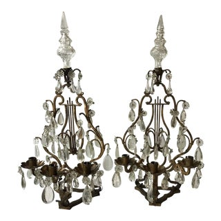 1950s Italian Lyre Candelabras - a Pair For Sale