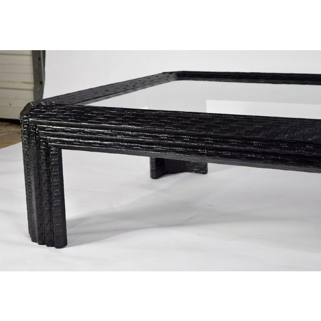 Lacquered Grasscloth Coffee Table by Baker - Image 4 of 9