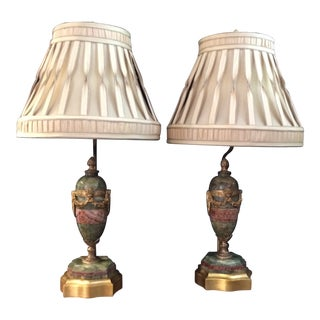 French Onyx Cassolettes With Gilt-Bronze Mounts Lamps - A Pair For Sale
