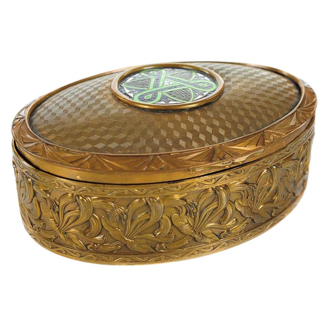 "19th C. Bronze & Enamel 5"" Oval Jewelry Box For Sale"