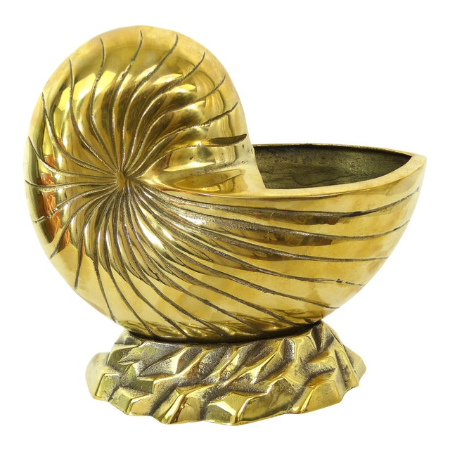 Vintage Large Cast Brass Nautilus Shell - Image 1 of 7
