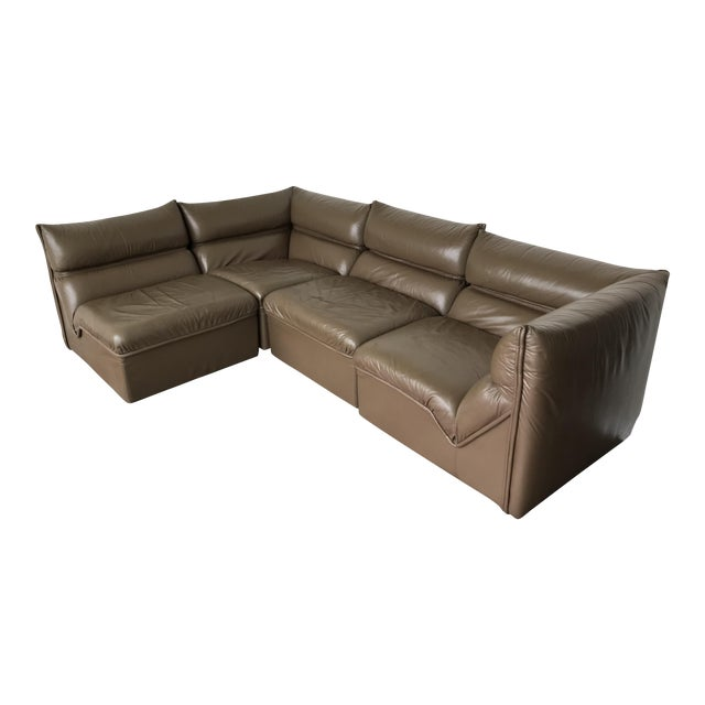 Guido Faleschini Original Italian Leather Mid-Century Modern Modular Sectional For Sale