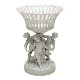 Porcelain Reticulated Basket on Pedestal with 3 Putti For Sale