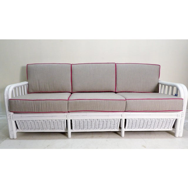 Contemporary Vintage White Rattan Sofa, New Custom Gray Cushions For Sale - Image 3 of 6