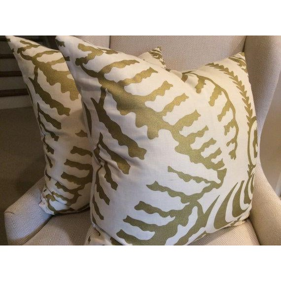Quadrille Alan Campbell Pillows in Metallic Gold - a Pair - Image 2 of 4