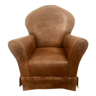 Distressed Brown Leather Children's Club Chair For Sale