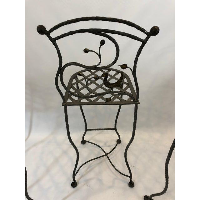 1980s Vintage Giacometti Style Whimsical Hand Forged Iron Counter Stools - Set of 5 For Sale - Image 4 of 11
