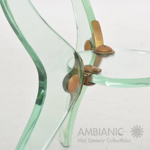 1950s Italian Glass & Bronze Coffee Table For Sale - Image 5 of 10