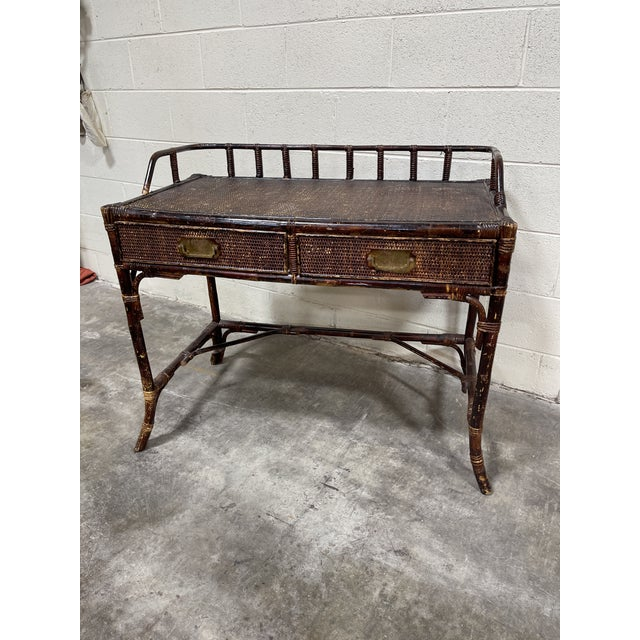 Vintage Bamboo Writing Desk For Sale - Image 12 of 12