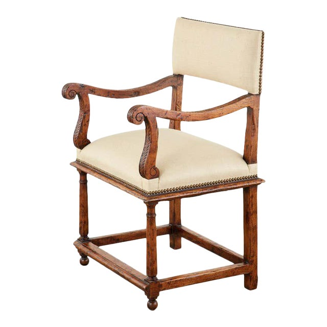 English Gothic Revival Wainscot Style Carved Hall Chair For Sale