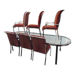 "1970s Mid-Century Modern Design Institute of America Chrome Dining Set ""Race Track Chrome Dining Set - 7 Pieces For Sale"