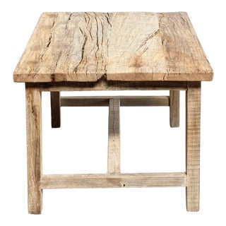 Vintage Teak Wood Rustic Side Table For Sale