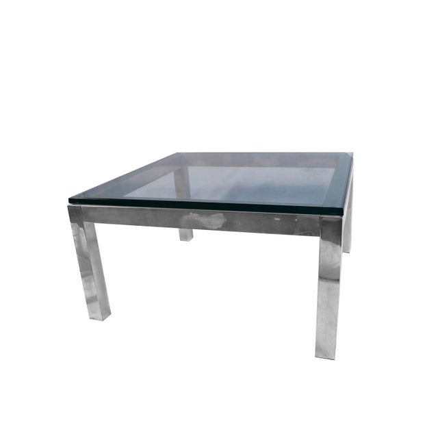 Mid Century Modern Chrome & Glass Coffee Table Milo Baughman Style For Sale - Image 11 of 11