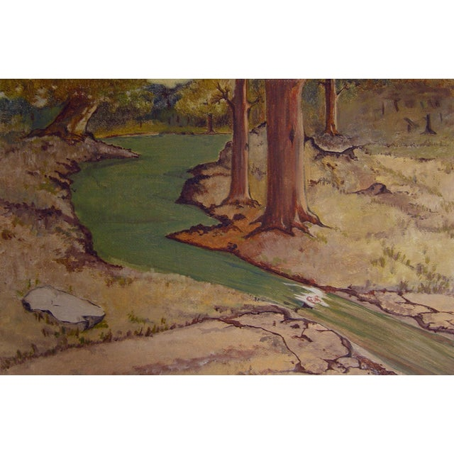Country Secluded Forest Stream Oil Painting For Sale - Image 3 of 3