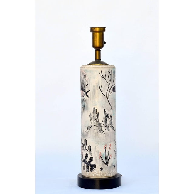 1940s Tye of California Hand Painted Cylinder Table Lamp For Sale - Image 10 of 10
