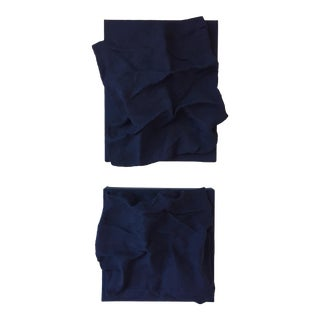"Chloe Hedden ""Prussian Blue Folds Pair"" Mixed Media Wall Sculpture For Sale"