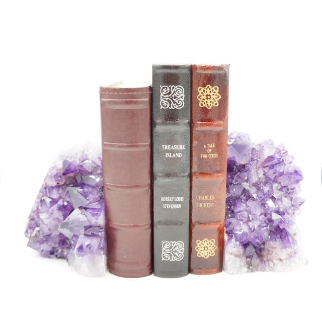 Modern Large Amethyst Geode Bookends - a Pair For Sale - Image 3 of 11