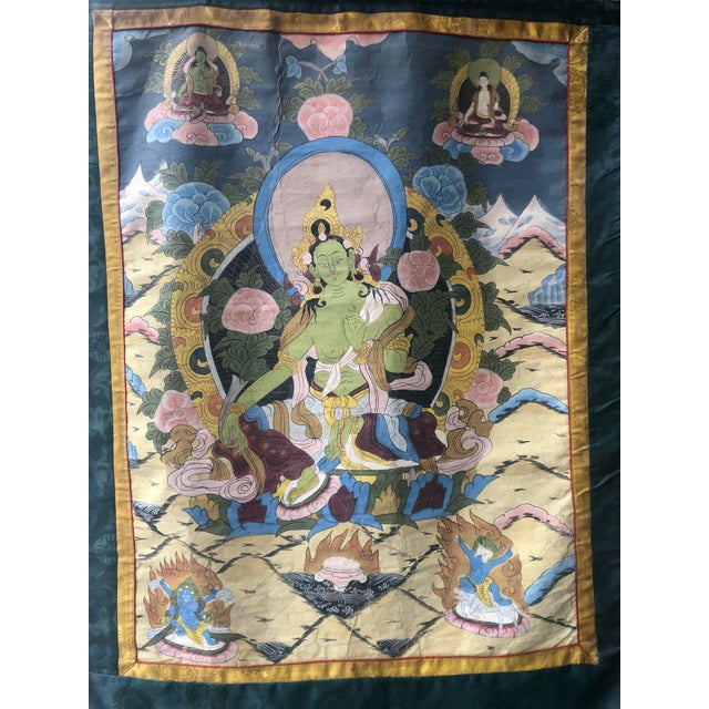 """Early 20th Century vintage Tibetan Thangka scroll, unframed. 38""""Hx27""""w painted on cloth."""