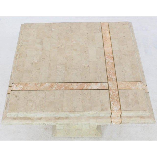 Pair of Tessellated Stone Tile Square Pedestal Shape End Side Tables Stands - A Pair For Sale - Image 9 of 11