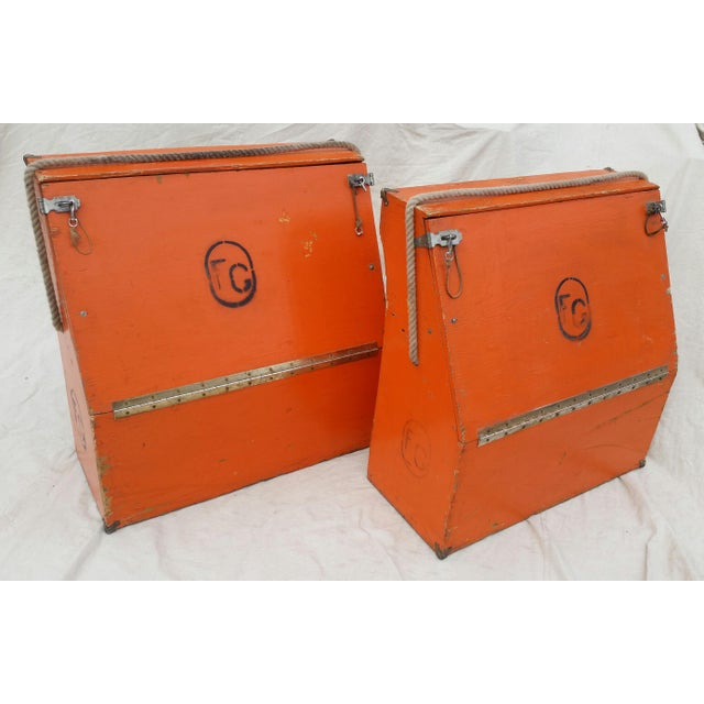 Vintage Western Orange Wood Horse Panniers From a Colorado Ranch - a Pair For Sale - Image 10 of 10