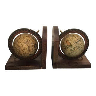 Vintage Wooden Globe Bookends - a Pair For Sale